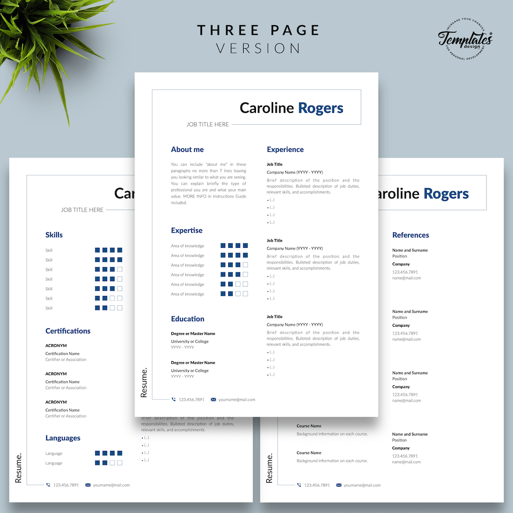 Resume Format for Engineer - Caroline Rogers 04 - Three Page Version - New version