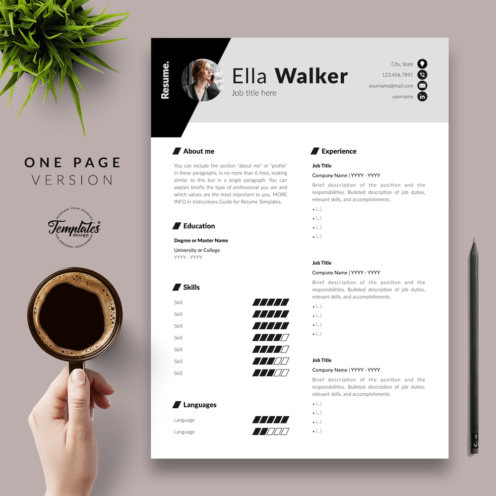 Creative Resume for Sales - Ella Walker 02 - One Page Version - New version
