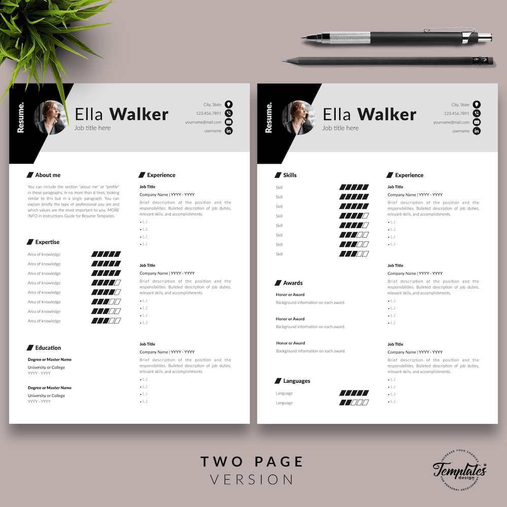 Creative Resume for Sales - Ella Walker 03 - Two Page Version - New version