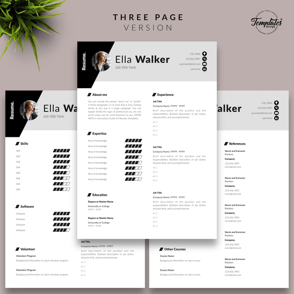 Creative Resume for Sales - Ella Walker 04 - Three Page Version - New version