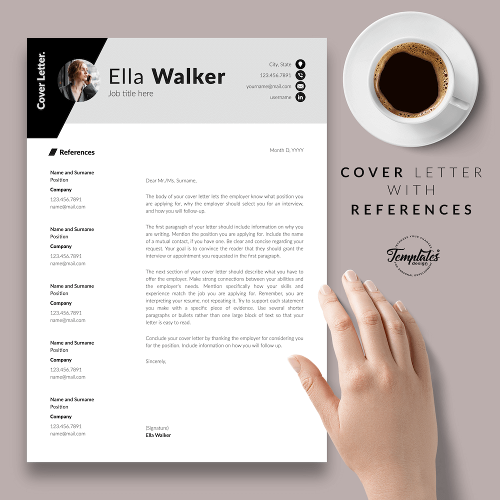 Creative Resume for Sales - Ella Walker 07 - Cover Letter with References - New version