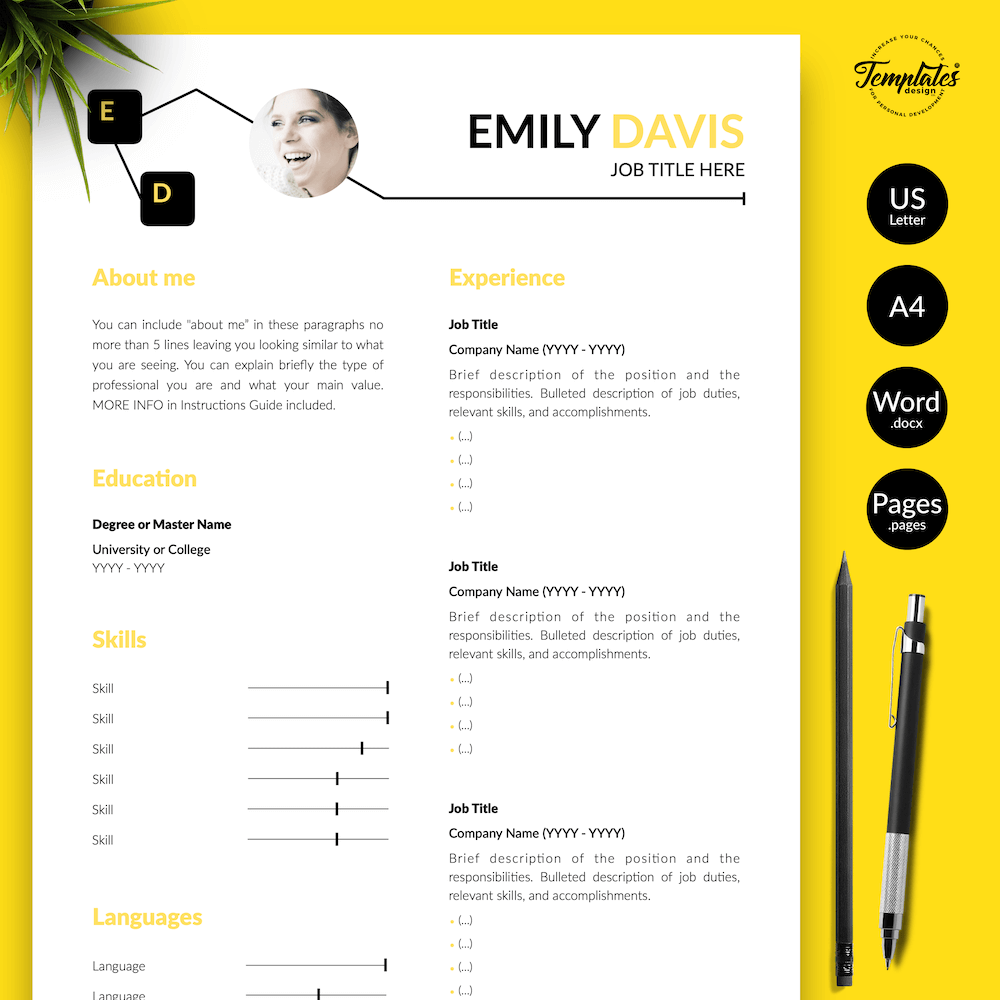 Resume Example for Writers - Emily Davis 01 - Presentation - New version
