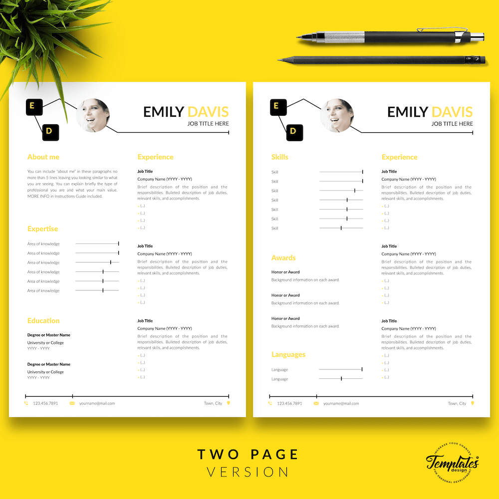 Resume Example for Writers - Emily Davis 03 - Two Page Version - New version