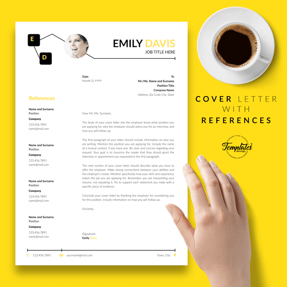 Resume Example for Writers - Emily Davis 07 - Cover Letter with References - New version