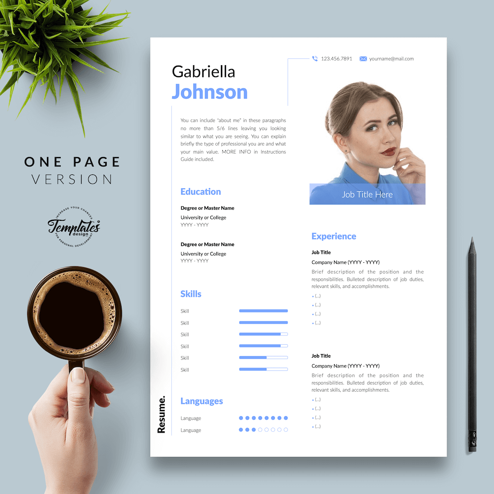 Creative Resume CV - Gabriella Johnson 02 - One Page Version - New version