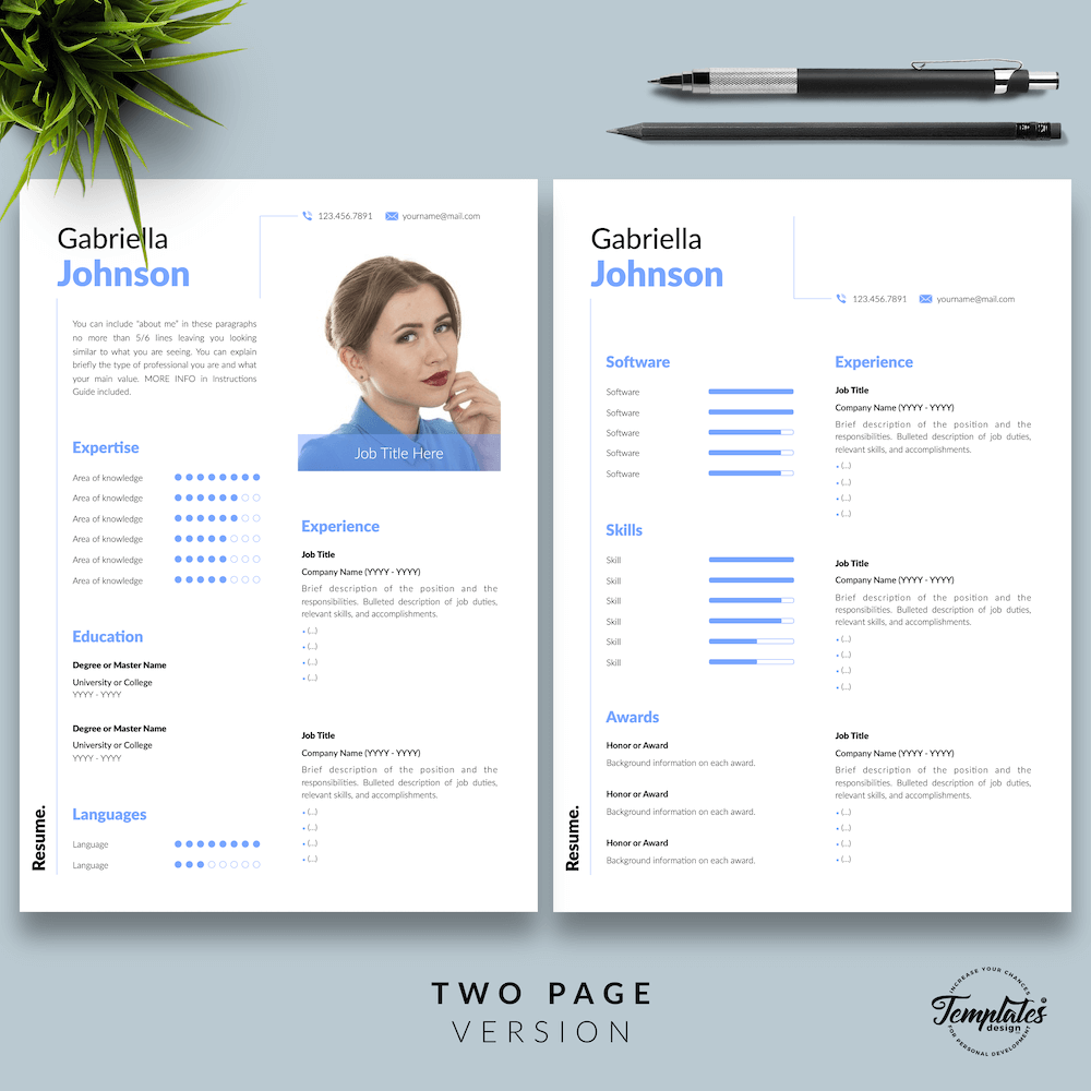 Creative Resume CV - Gabriella Johnson 03 - Two Page Version - New version