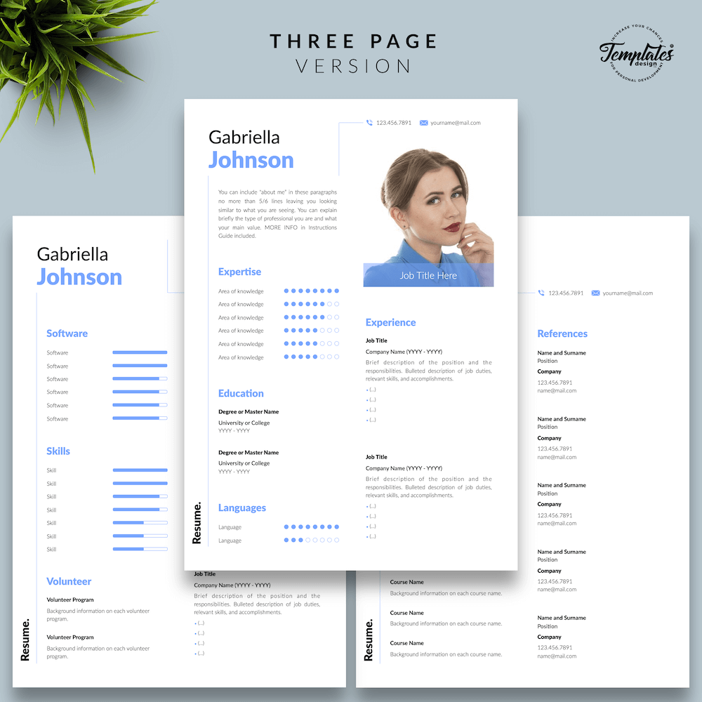 Creative Resume CV - Gabriella Johnson 04 - Three Page Version - New version