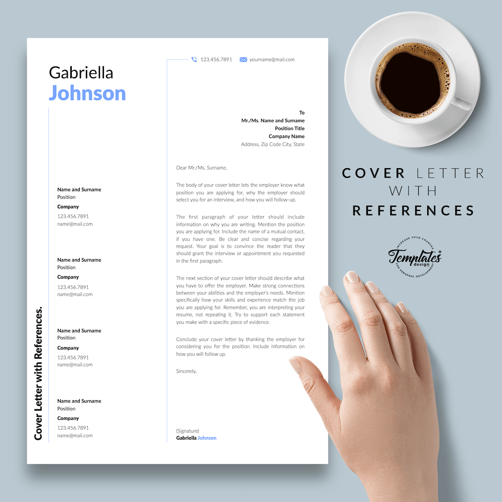 Creative Resume CV - Gabriella Johnson 07 - Cover Letter with References - New version