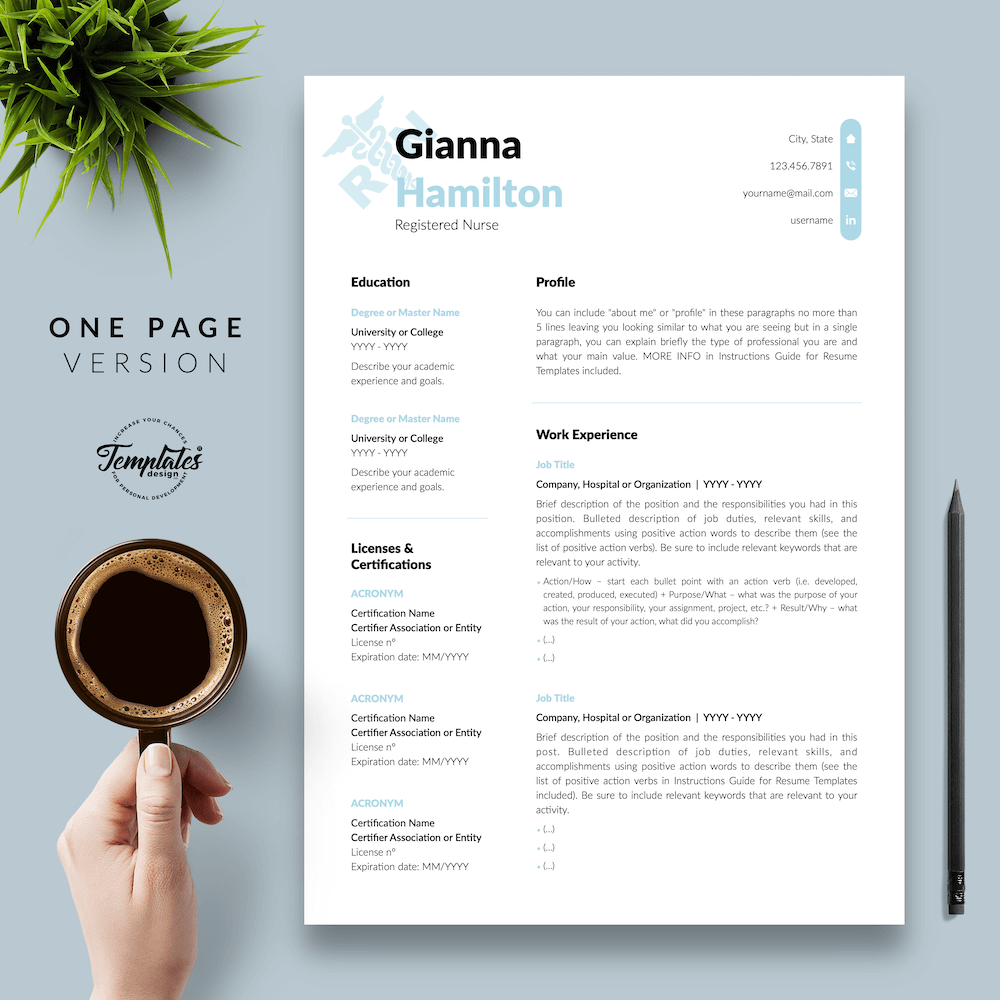 Modern Resume for Nursing - Gianna Hamilton 02 - One Page Version - New version
