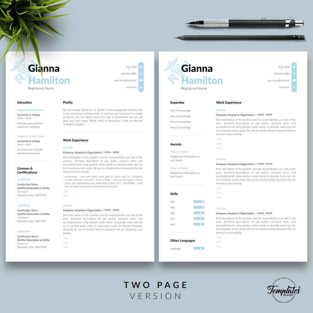 Modern Resume for Nursing - Gianna Hamilton 03 - Two Page Version - New version