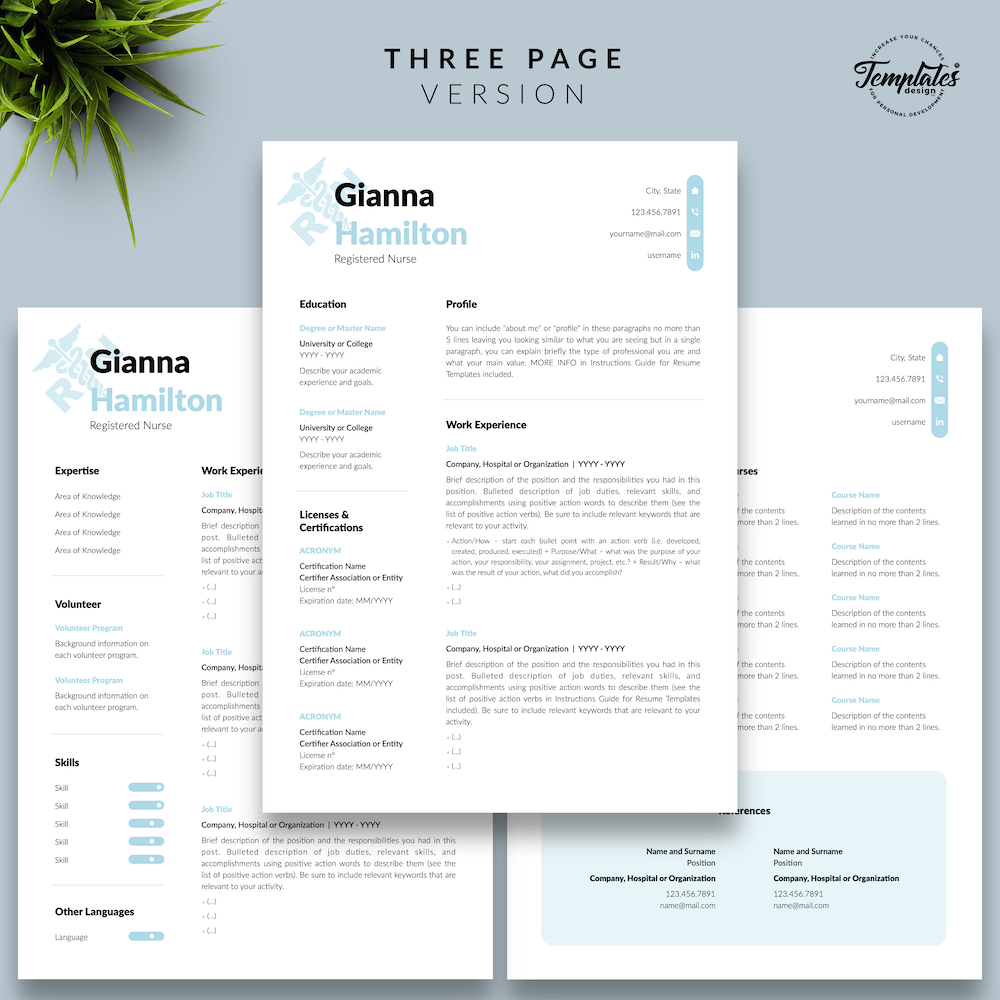 Modern Resume for Nursing - Gianna Hamilton 04 - Three Page Version - New version