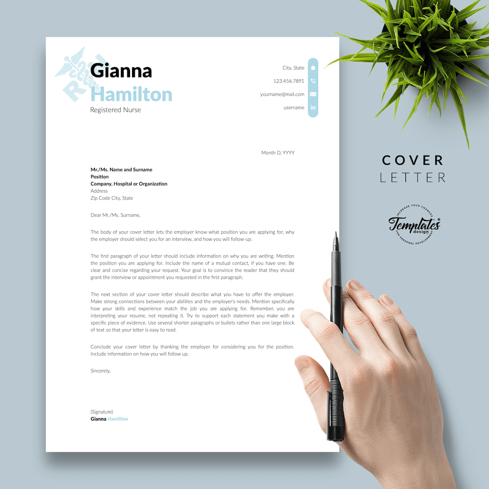 Modern Resume for Nursing - Gianna Hamilton 05 - Cover Letter - New version