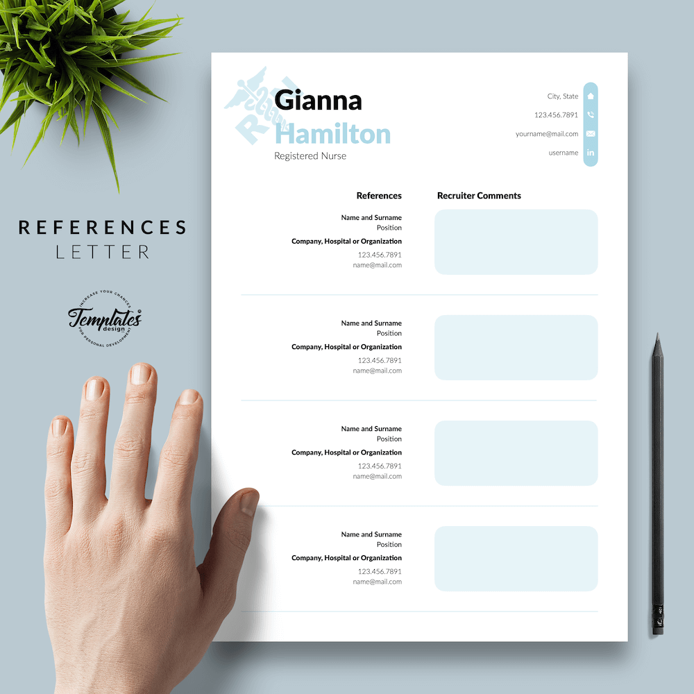 Modern Resume for Nursing - Gianna Hamilton 06 - References - New version