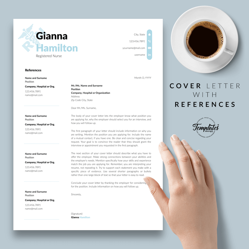 Modern Resume for Nursing - Gianna Hamilton 07 - Cover Letter with References - New version
