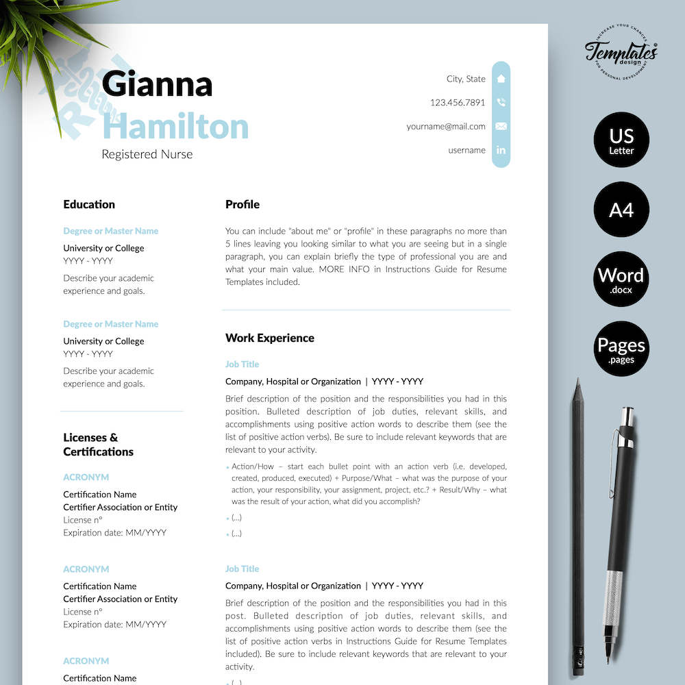 Modern Resume for Nursing - Gianna Hamilton - Presentation - New version