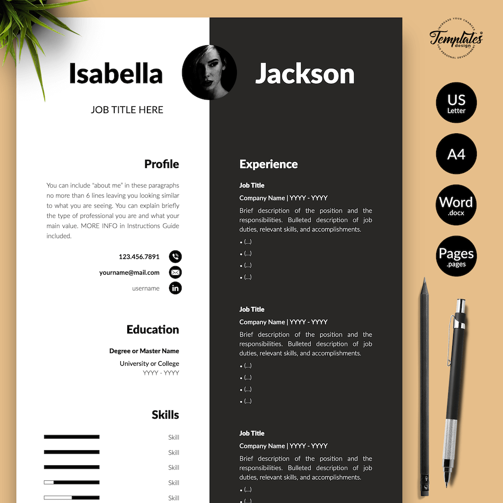 Modern Resume for Managers - Isabella Jackson 01 - Presentation - New version