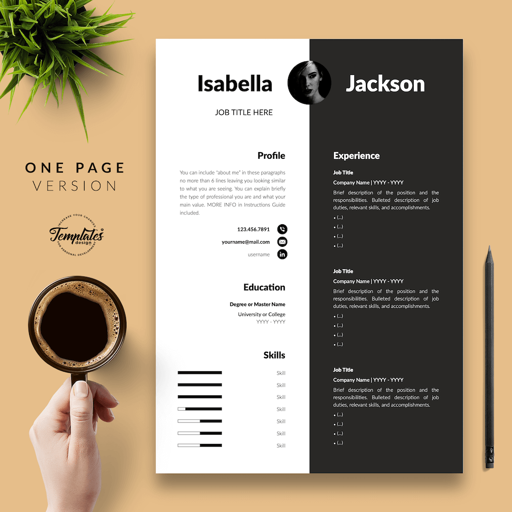 Modern Resume for Managers - Isabella Jackson 02 - One Page Version - New version