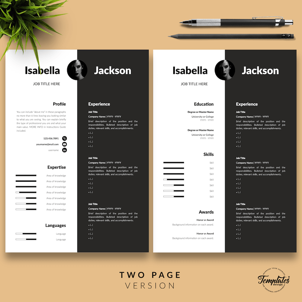 Modern Resume for Managers - Isabella Jackson 03 - Two Page Version - New version