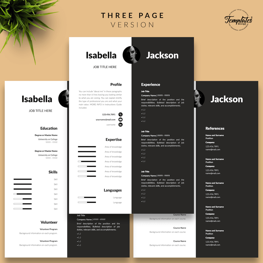 Modern Resume for Managers - Isabella Jackson 04 - Three Page Version - New version