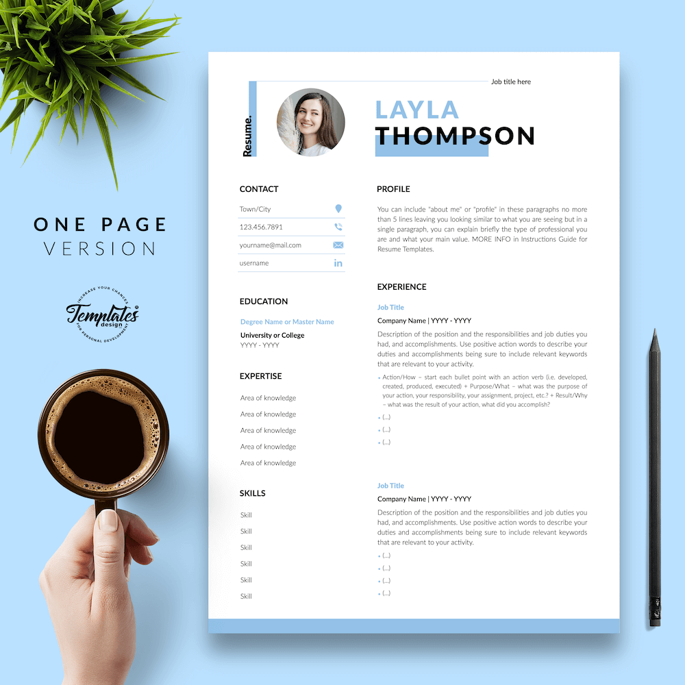 Simple Resume Template - Layla Thompson 02 - One Page Version - New version