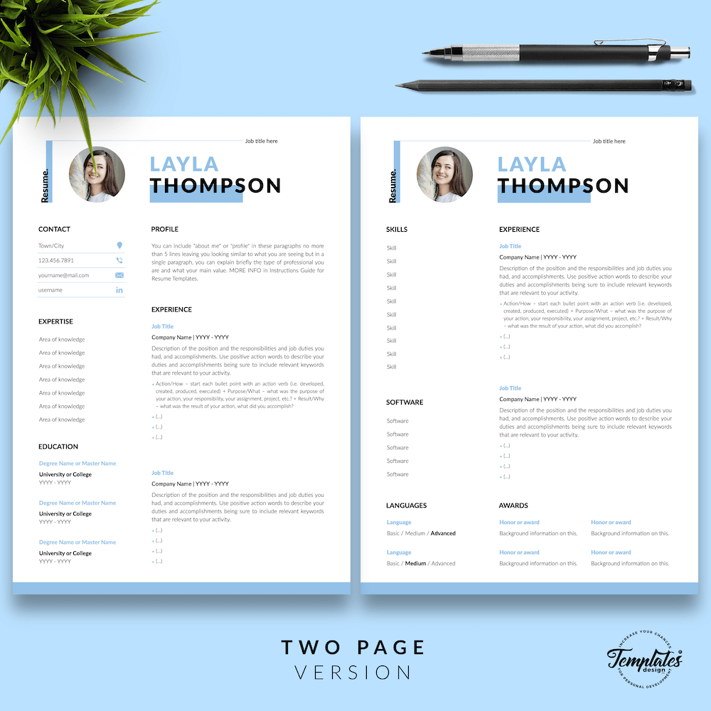 Simple Resume Template - Layla Thompson 03 - Two Page Version - New version