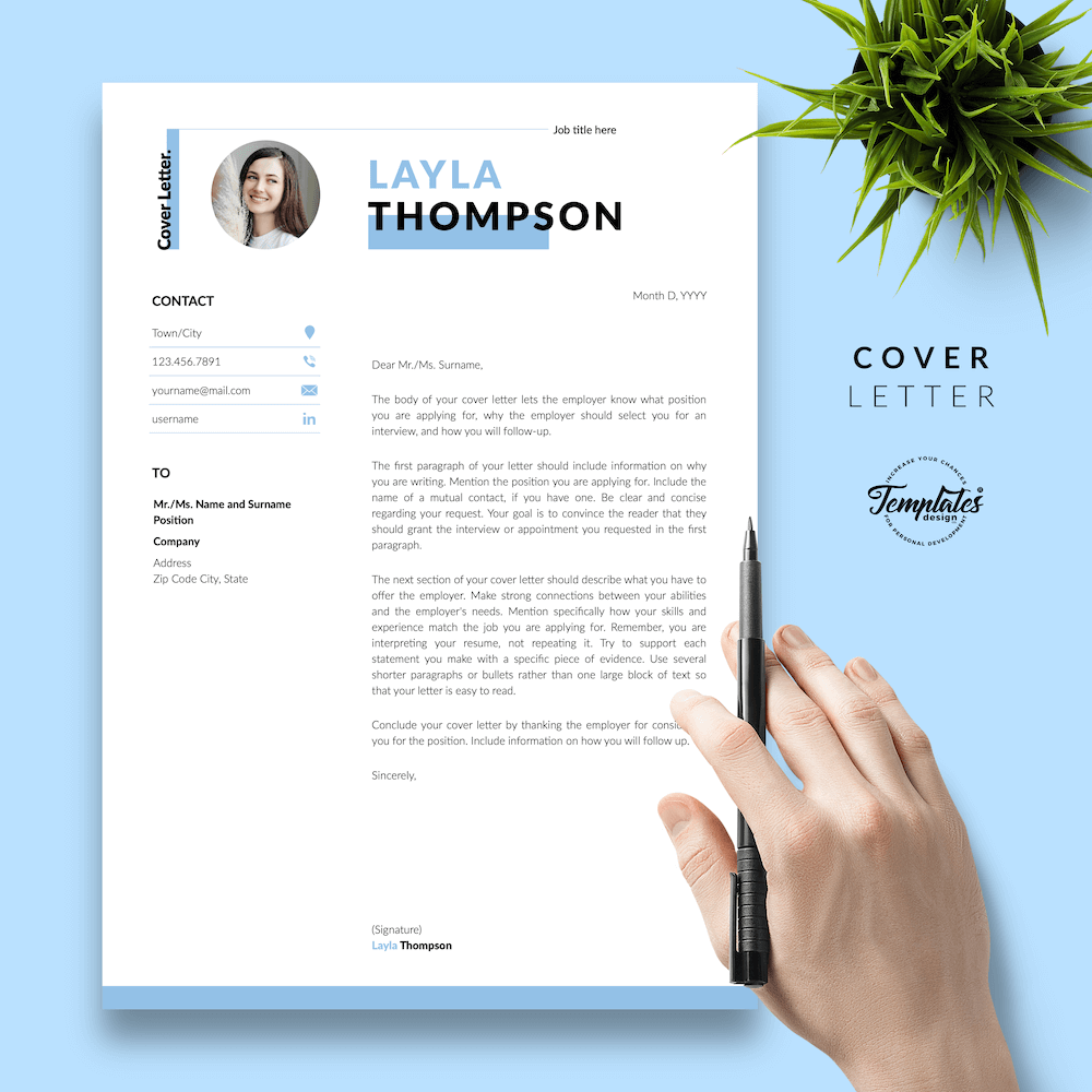 Simple Resume Template - Layla Thompson 05 - Cover Letter - New version