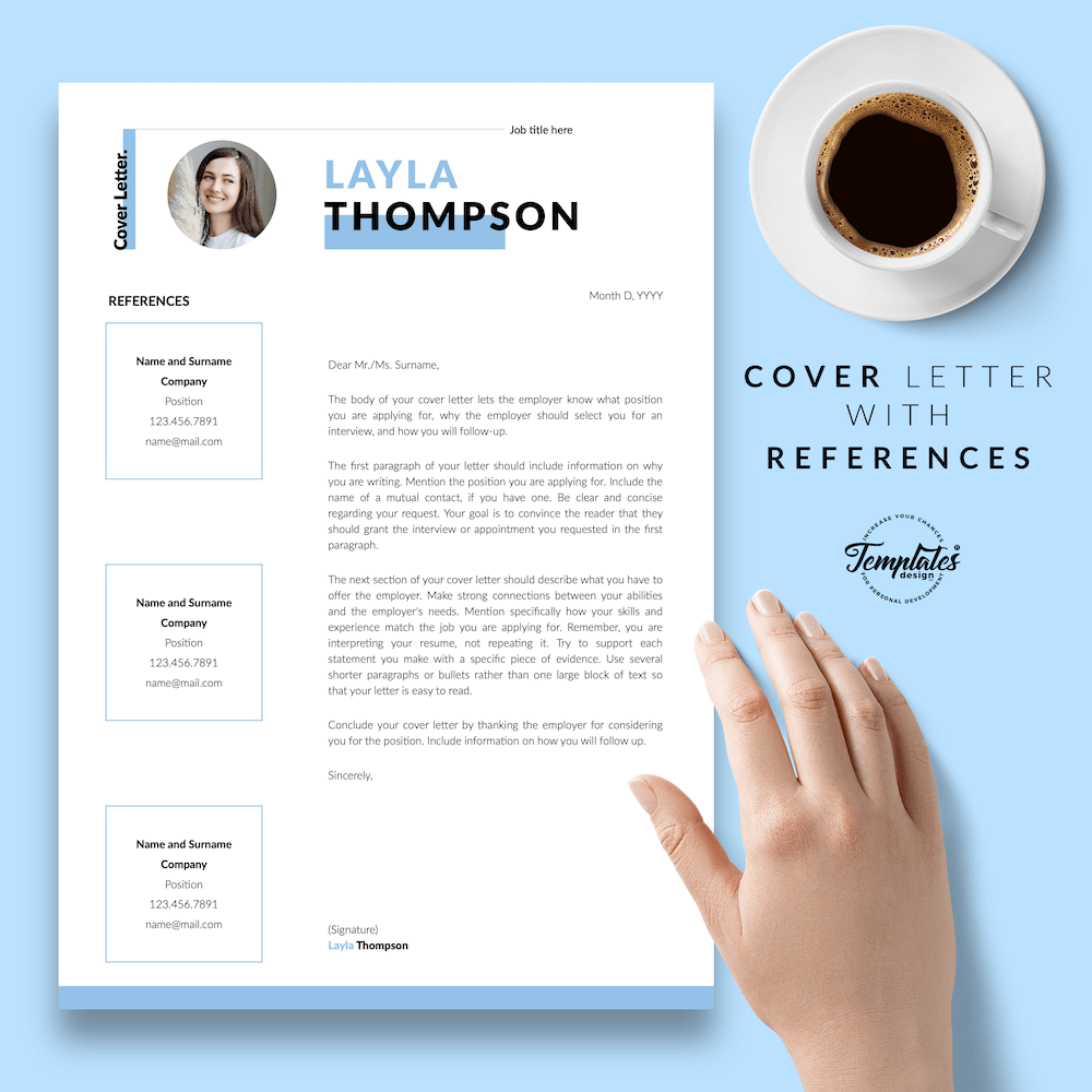 Simple Resume Template - Layla Thompson 07 - Cover Letter with References - New version