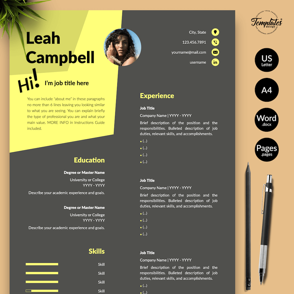 Modern Dark Resume Template - Leah Campbell 01 - Presentation - New version