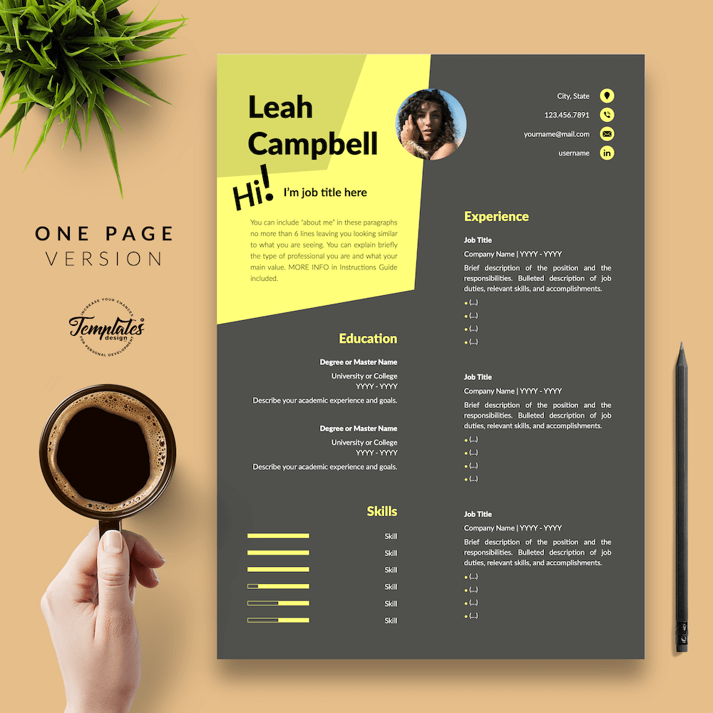 Modern Dark Resume Template - Leah Campbell 02 - One Page Version - New version