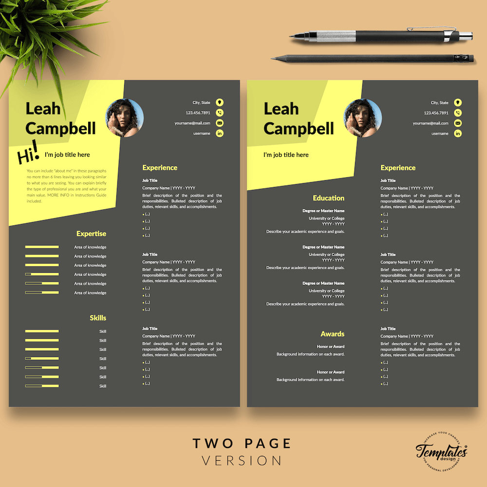 Modern Dark Resume Template - Leah Campbell 03 - Two Page Version - New version