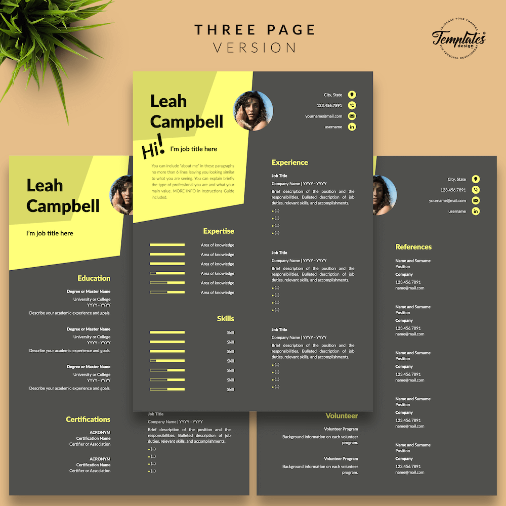 Modern Dark Resume Template - Leah Campbell 04 - Three Page Version - New version