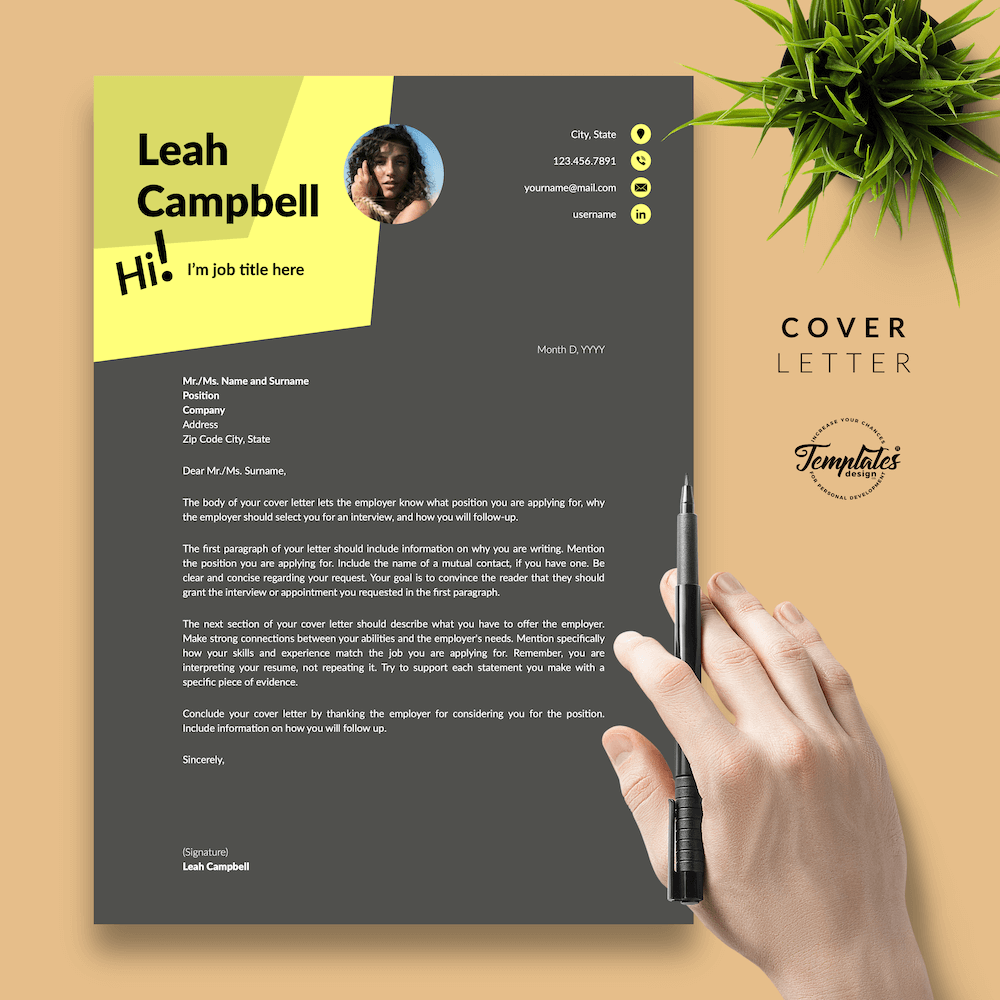 Modern Dark Resume Template - Leah Campbell 05 - Cover Letter - New version