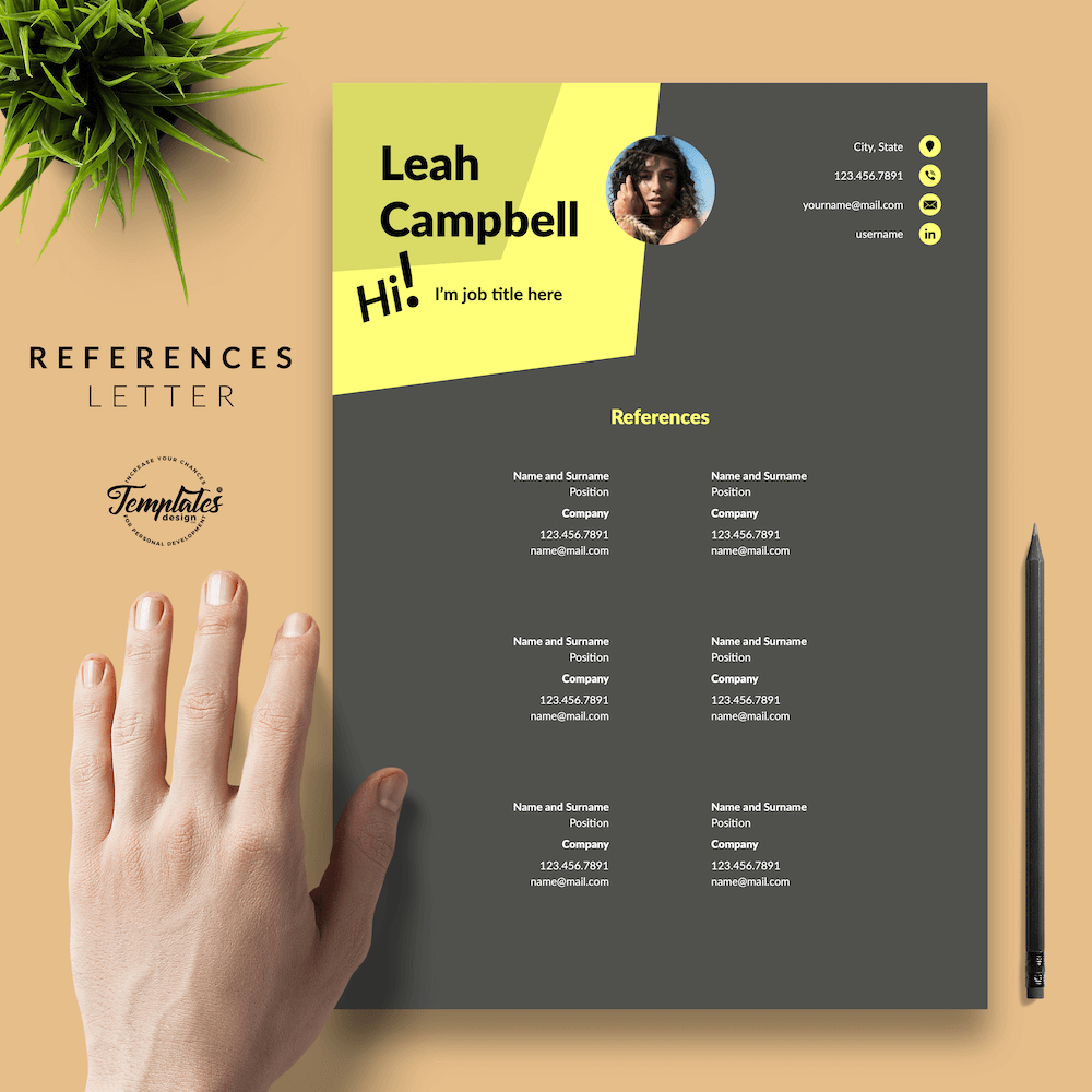 Modern Dark Resume Template - Leah Campbell 06 - References - New version
