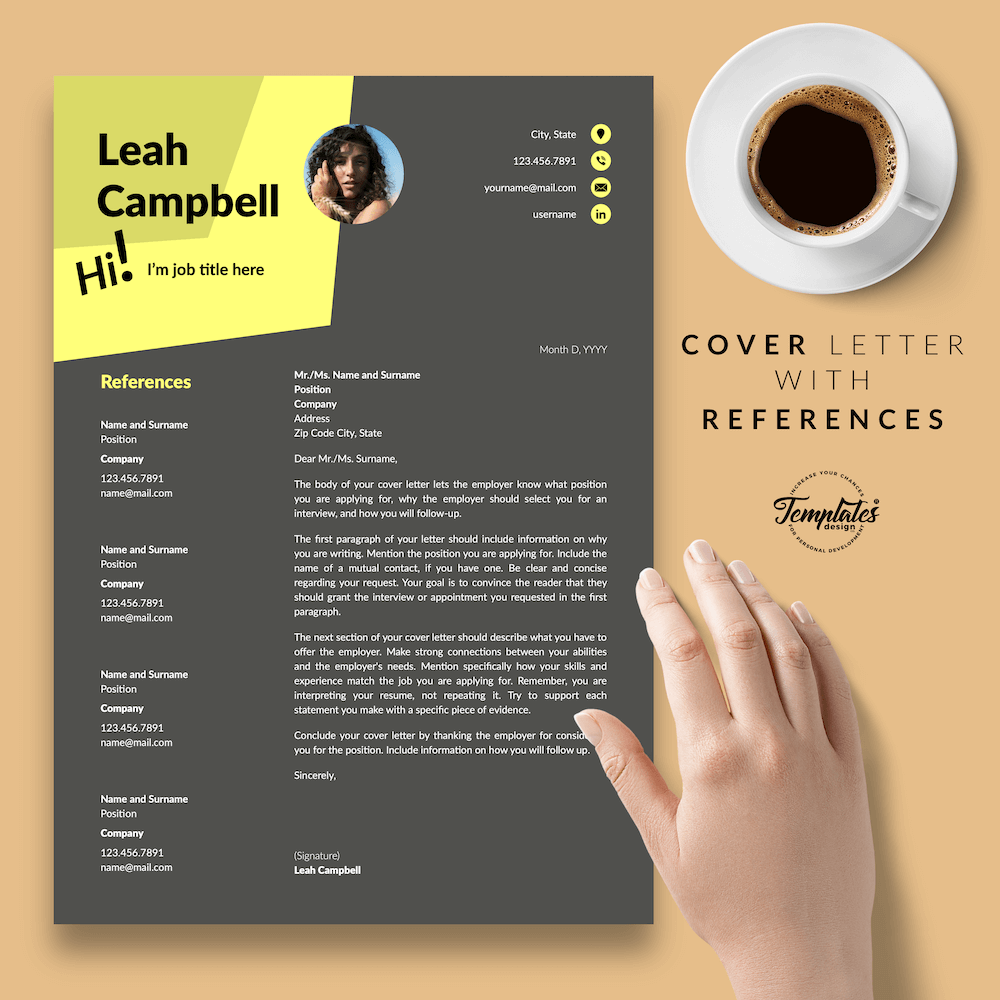 Modern Dark Resume Template - Leah Campbell 07 - Cover Letter with References - New version