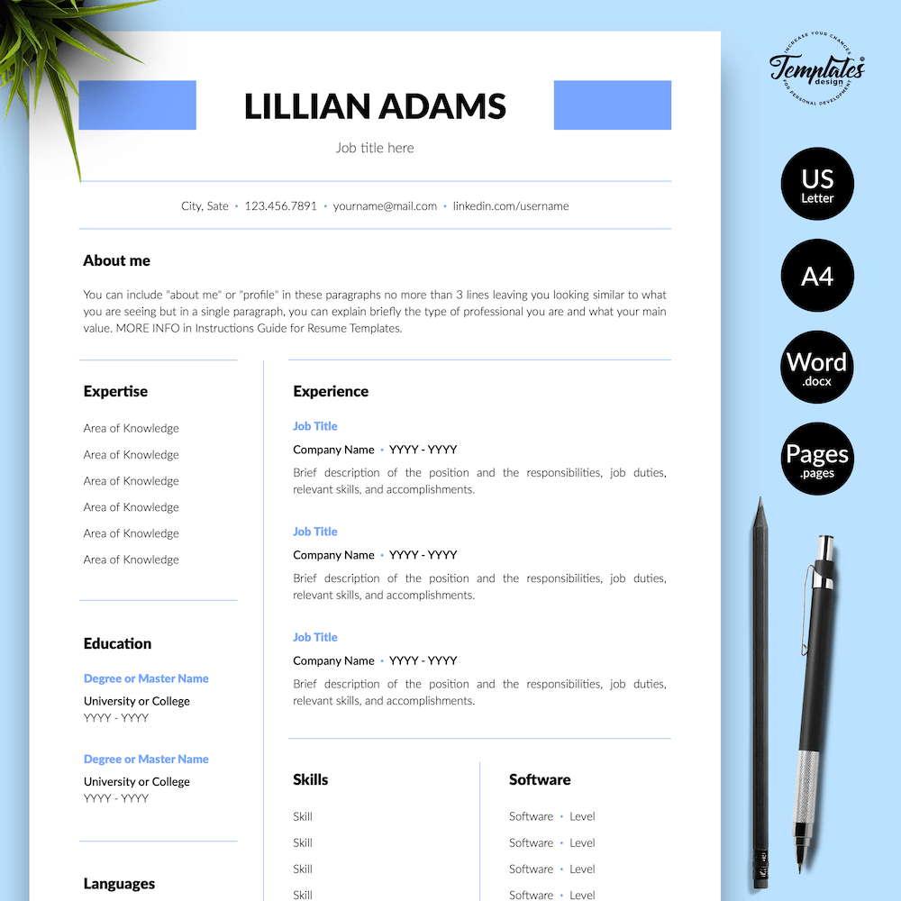 Basic Resume Template - Lillian Adams 01 - Presentation - New version