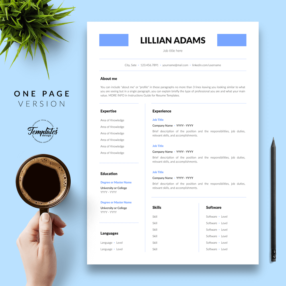 Basic Resume Template - Lillian Adams 02 - One Page Version - New version