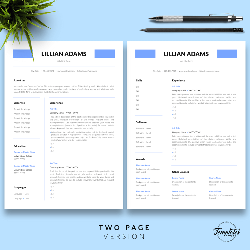 Basic Resume Template - Lillian Adams 03 - Two Page Version - New version