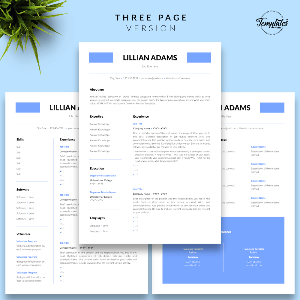 Basic Resume Template - Lillian Adams 04 - Three Page Version - New version