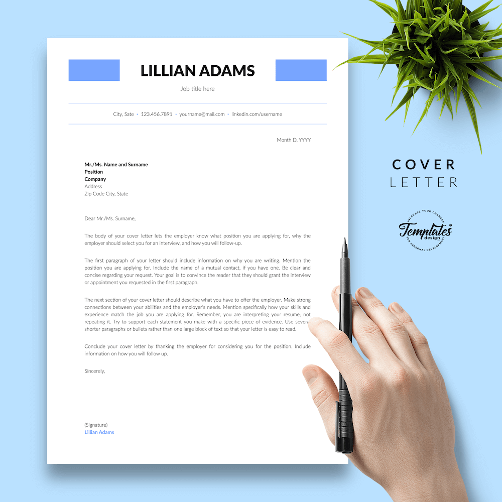 Basic Resume Template - Lillian Adams 05 - Cover Letter - New version