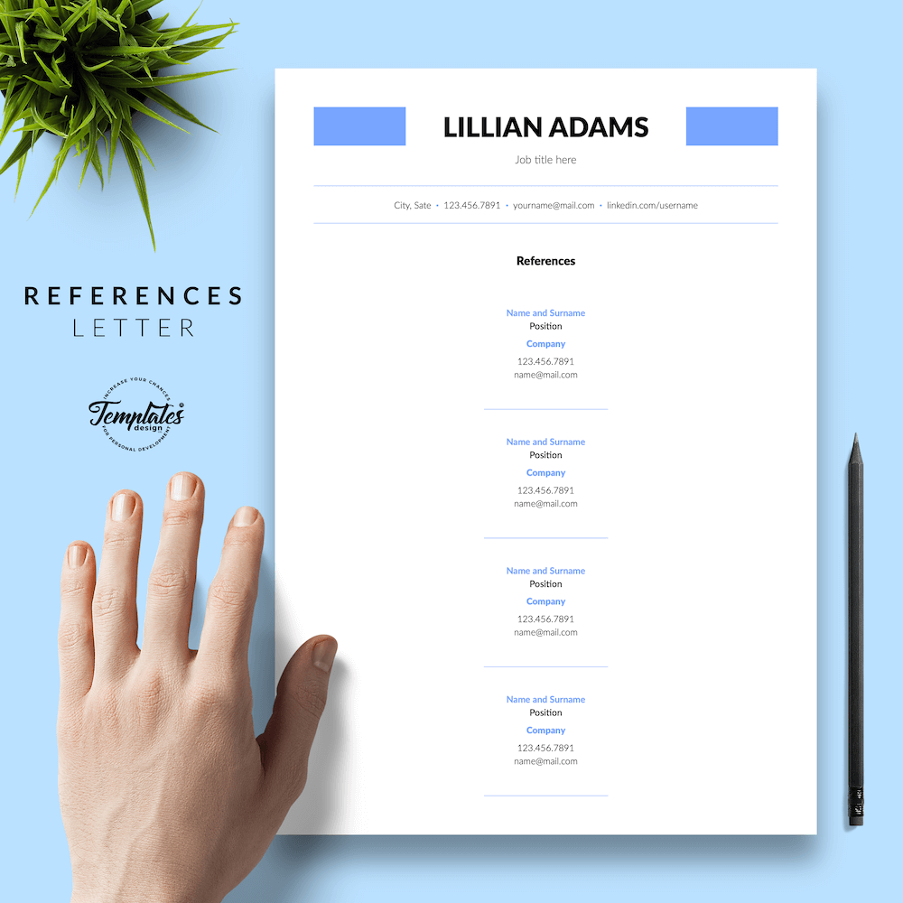 Basic Resume Template - Lillian Adams 06 - References - New version
