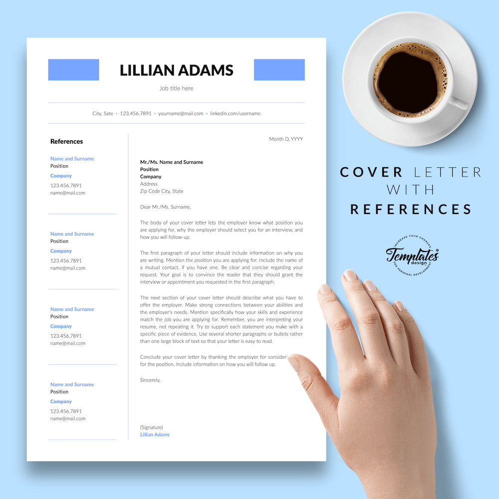 Basic Resume Template - Lillian Adams 07 - Cover Letter with References - New version