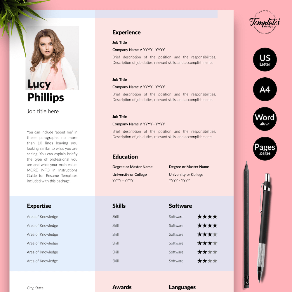 Modern Resume for Secretary - Lucy Phillips 01 - Presentation - New version