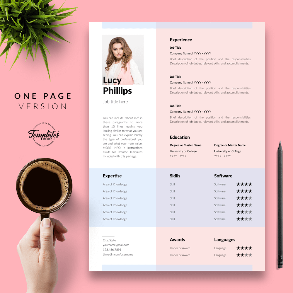 Modern Resume for Secretary - Lucy Phillips 02 - One Page Version - New version