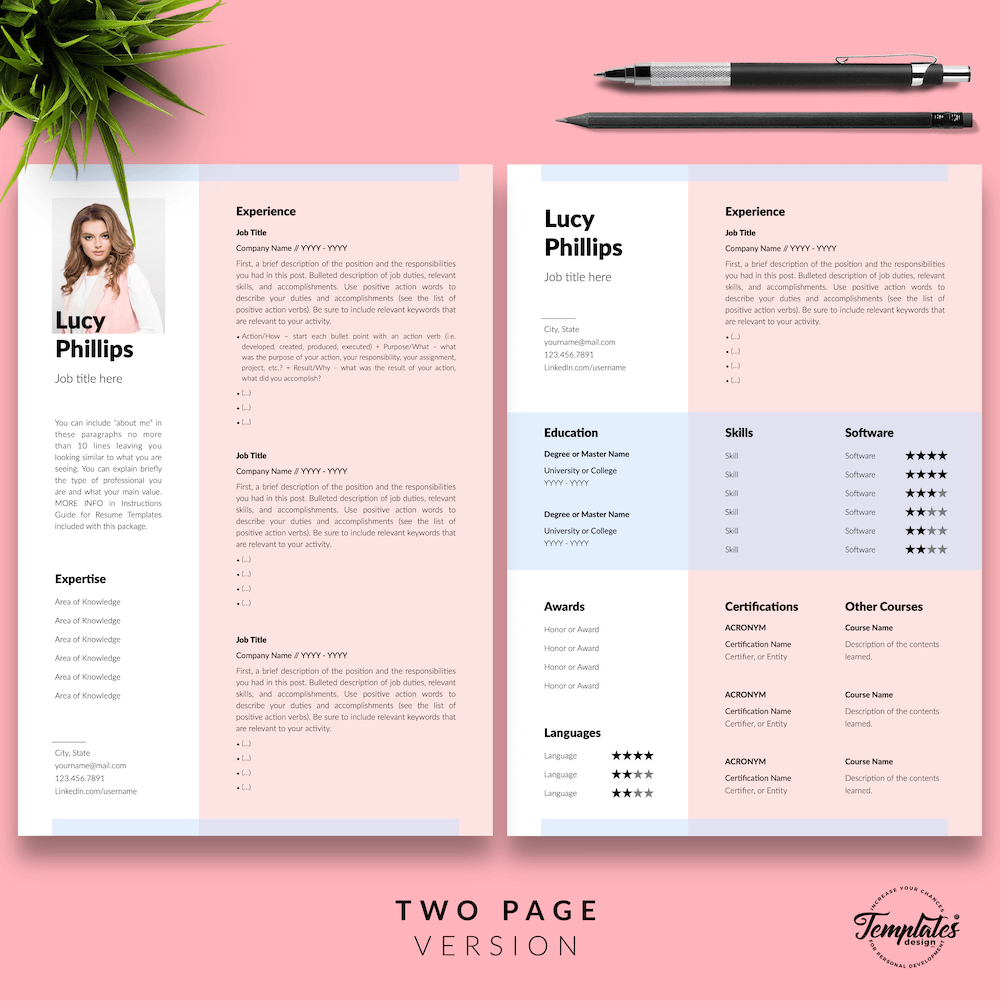 Modern Resume for Secretary - Lucy Phillips 03 - Two Page Version - New version