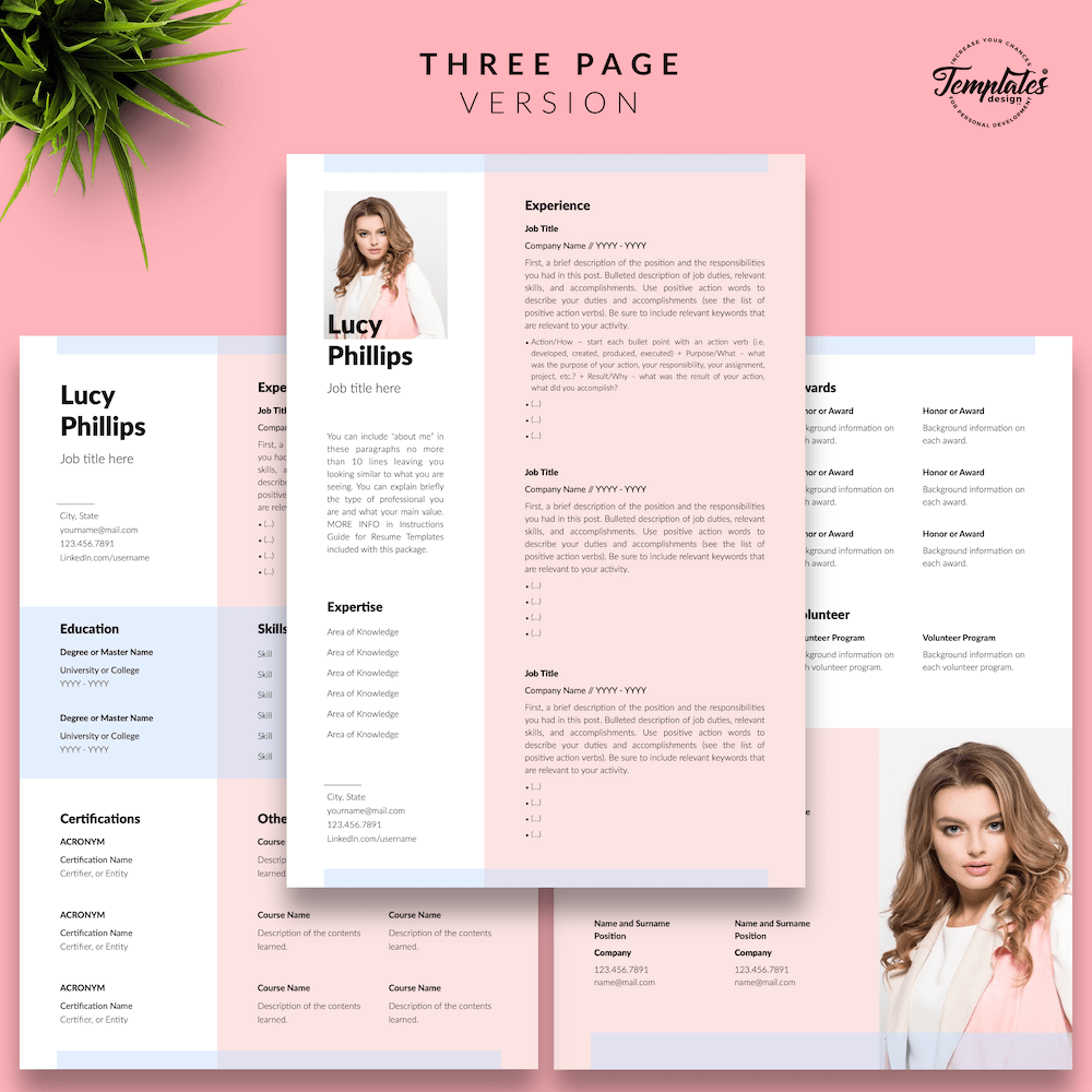 Modern Resume for Secretary - Lucy Phillips 04 - Three Page Version - New version