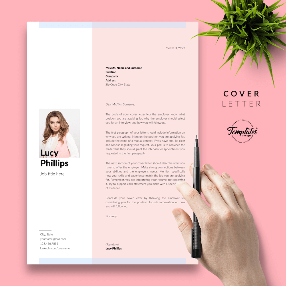 Modern Resume for Secretary - Lucy Phillips 05 - Cover Letter - New version