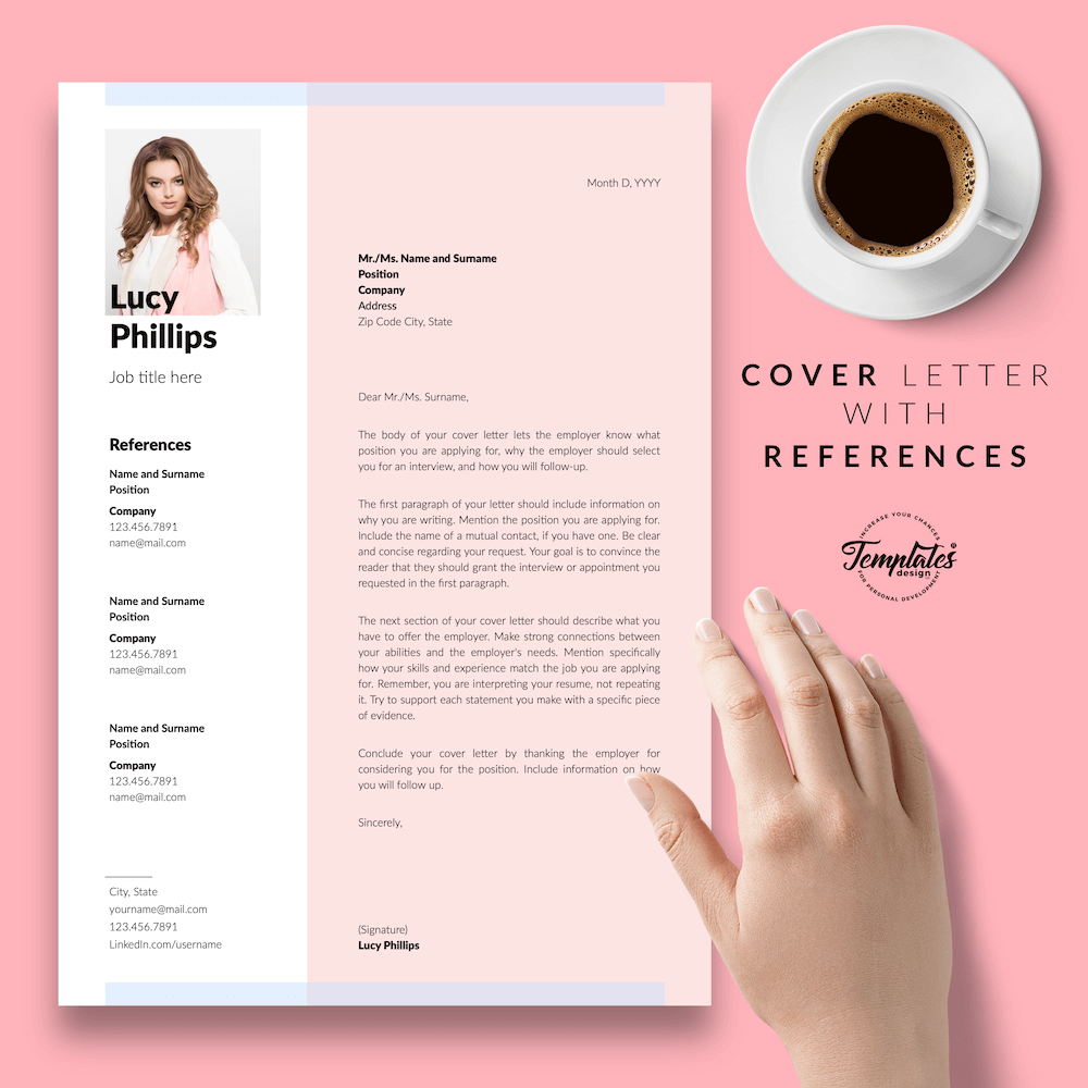Modern Resume for Secretary - Lucy Phillips 07 - Cover Letter with References - New version