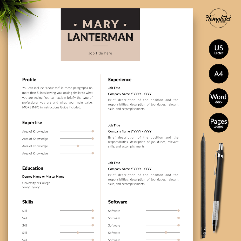 Elegant Resume Template - Mary Lanterman 01 - Presentation - New version