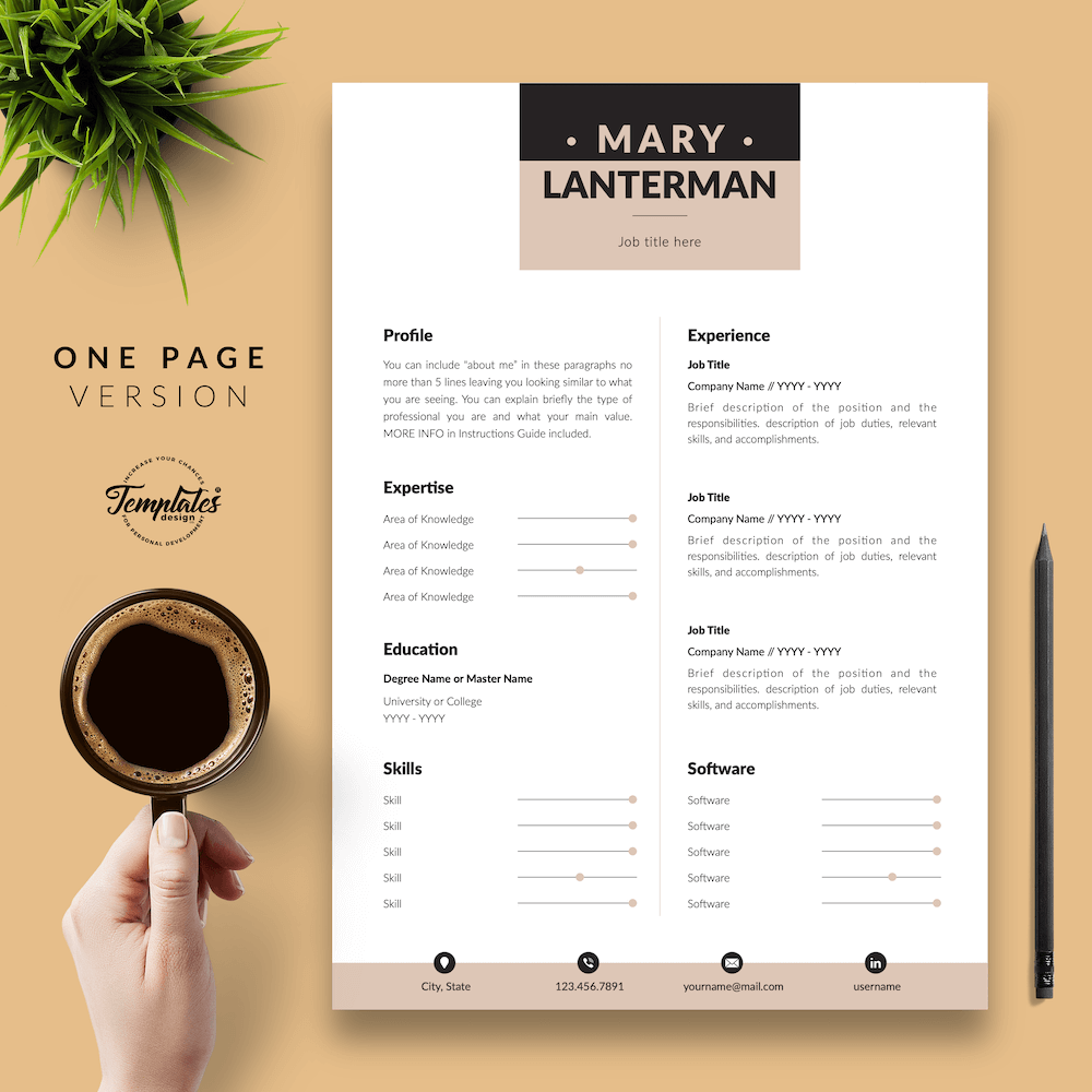 Elegant Resume Template - Mary Lanterman 02 - One Page Version - New version