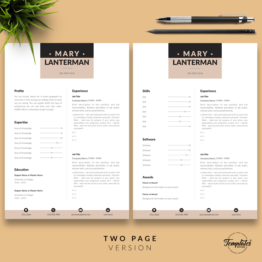 Elegant Resume Template - Mary Lanterman 03 - Two Page Version - New version